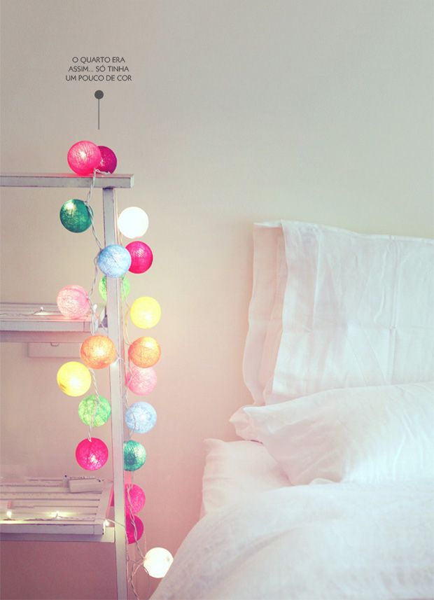Colored String Lights For Bedroom : colorful string lights in a white bedroom #decor #colors ?Bedrooms Pinterest Cotton, So ...