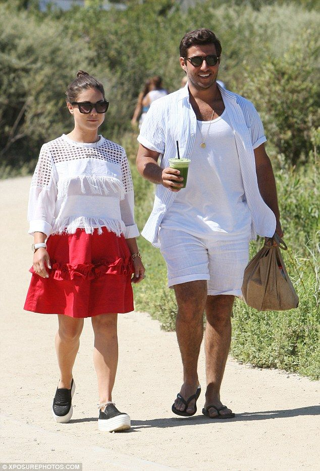 Harsh: Louise and Alik (pictured in Malibu, California, in July 2015) dated for…