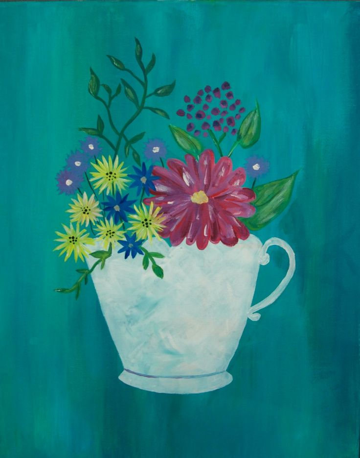 A taste of spring and a taste of tea. Paint Tea Cup with Flowers with us!