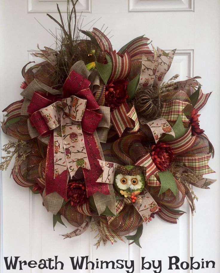 Deco Mesh Autumn Owl Silk Floral Wreath In Moss Green And Cranberry, Fall  Wreath,