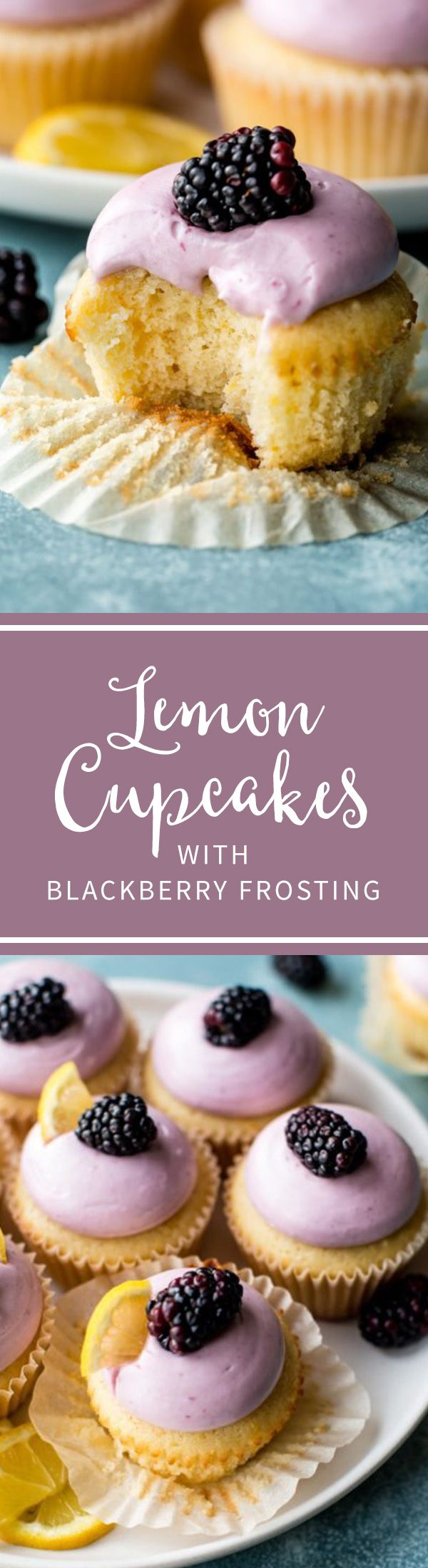 Soft and moist lemon cupcakes (so easy!) with creamy blackberry cream cheese frosting on top! Recipe on sallysbakingaddiction.com