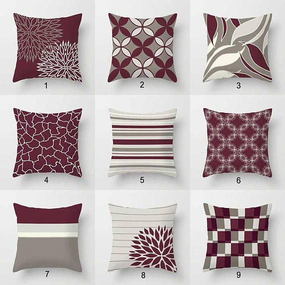 Burgundy Pillow Covers Wine Dark Red Throw Pillows Warm Beige