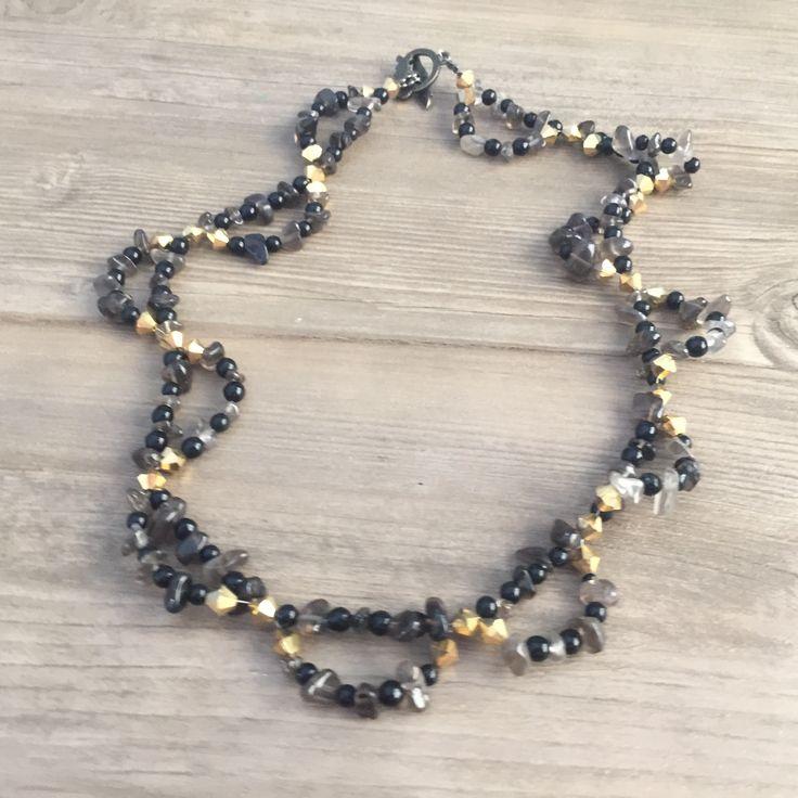 Choker Necklace, Semi Precious Stones, Black Gold Collar Necklace, Beaded Necklace, Gold Black Crystals Necklace, Great Gatsby Jewelry