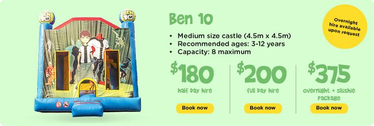 Book Ben 10 Jumping Castle for half day and full day also available overnight hire. Call Gavin or Bernadette on 0427 113 371