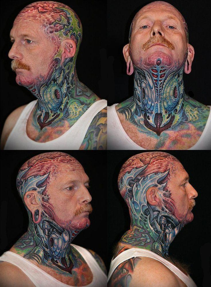 Biomechanical Neck and Head tattoo #Biomechanical #tattoo ...