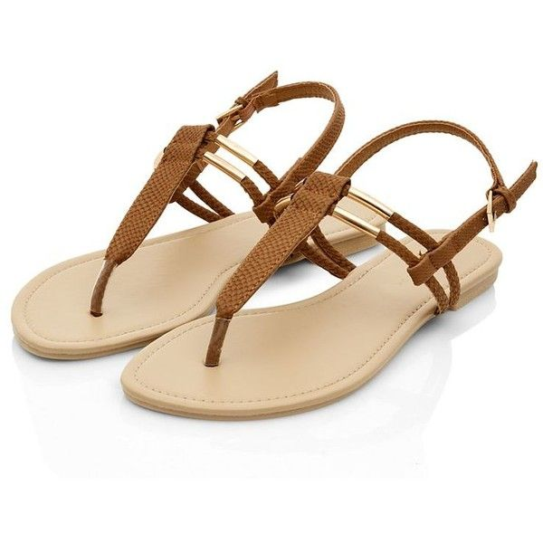 Tan Metal Trim T-Bar Strap Sandals (£2) ❤ liked on Polyvore featuring shoes, sandals, flats, strappy sandals, flat pumps, strappy shoes, flats sandals and t-bar sandals