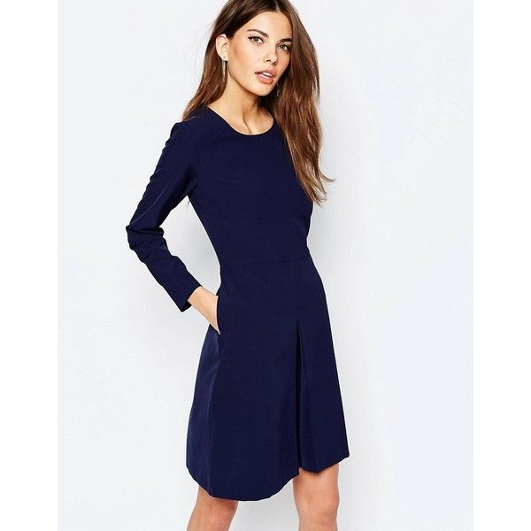 Selected Beth Skater Dress With Bell Sleeve ($87) ❤ liked on Polyvore featuring dresses, navy, flared sleeve dress, crew neck dress, navy blue dress, tall skater dress and skater dress