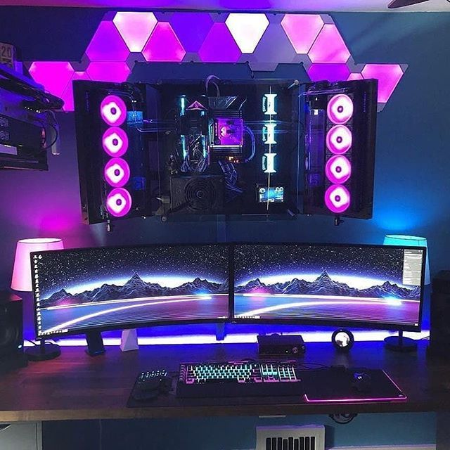 Would You Like You Pc Hanging On Your Wall Tag Someone Who Needs To See This Follow Setupwarriors Specs Core P7 Case Core I7 7800 Pc Setup Gaming Pc Setup