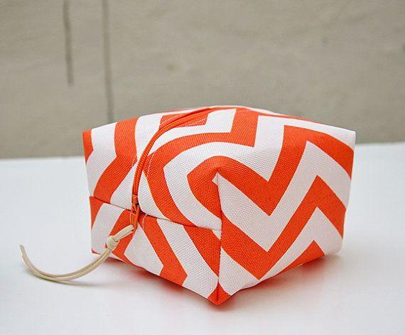 Orange White Chevron Small Make Up Bag. Waterproof by Loutik