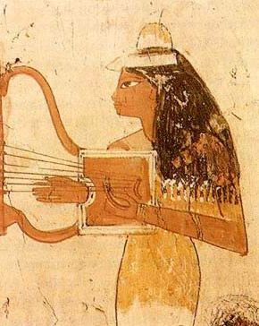 The arched harp became dominate in pharaonic Egypt. It was made with a sound box which was joined smoothly to a curved rod encircled by collars for individual strings.  #AncientEgypt #OrpheusProject