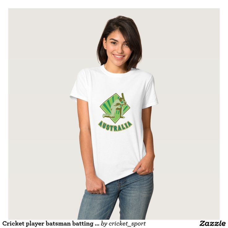 Cricket player batsman batting Australia Shirt. Cricket World Cup women's t-shirt with a vector illustration of a cricket player batsman batting done in retro style with word Australia.  #cricket #cricketworldcup #t20worldcup #worldtwenty20 #t20worldcup2016