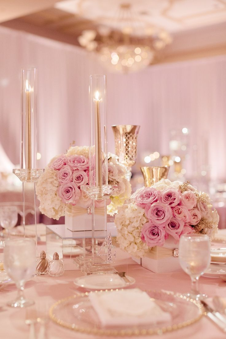 diy beach theme wedding centerpieces%0A Blush Pink and White Wedding  Rose Gold  Inbaldror Gown  St Regis Monarch  Beach