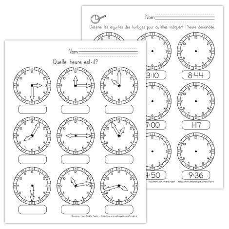 Fichiers PDF téléchargeables En noir et blanc seulement  Cet exercice d'une page vise à ce que l'élève soit capable de lire une heure représentée et qu'il soit en mesure de dessiner une heure demandée.