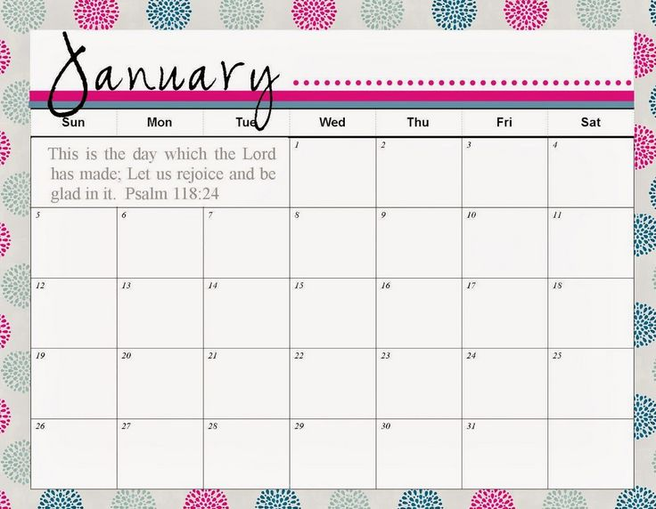 January  Calendar Printable Template   For Kids