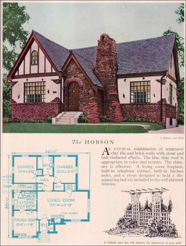 The 1929 hobson eclectic english revival home builders for Vintage floor plans
