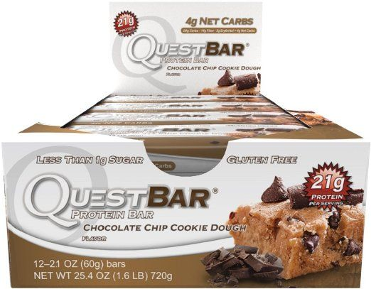 Quest Nutrition Protein Bar, Chocolate Chip Cookie Dough, 21g Protein, 2.1oz Bar, 12 Count