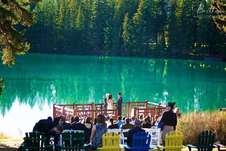 Bride and Groom wedding vows in Jasper, Alberta.