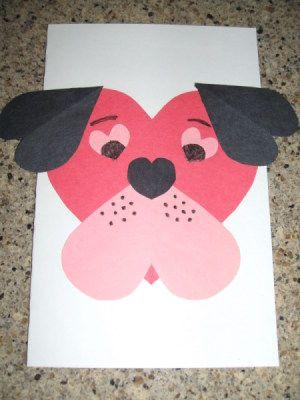 Compleded tarjeta de San Valentín del perrito.