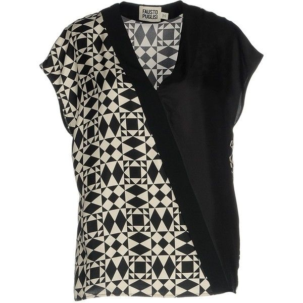 Fausto Puglisi Blouse (24.055 RUB) ❤ liked on Polyvore featuring tops, blouses, black, short sleeve tops, v-neck tops, v neck blouse, short-sleeve blouse and fausto puglisi