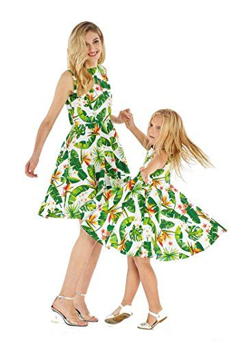 ffd1a4601d29 Matching Hawaiian Luau Mother Daughter Vintage Fit and Flare Dresses in  Hibiscus Blue
