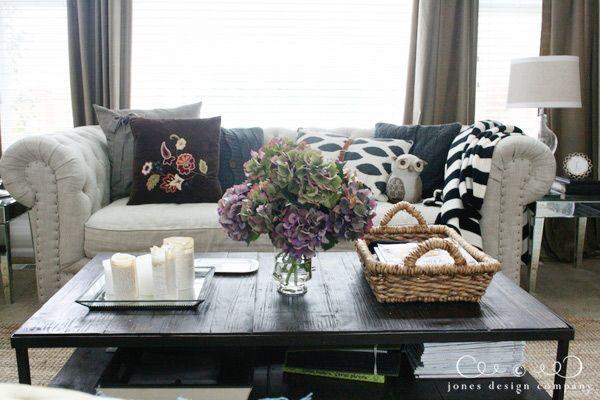 Autumn pillows on sofa - jones design company