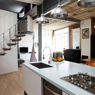 My Dream Kitchen The Perfect Combination Of Old And New Exposed Brick And Industrial Style Lighting Combined With A Contemporary Gloss Finish Is