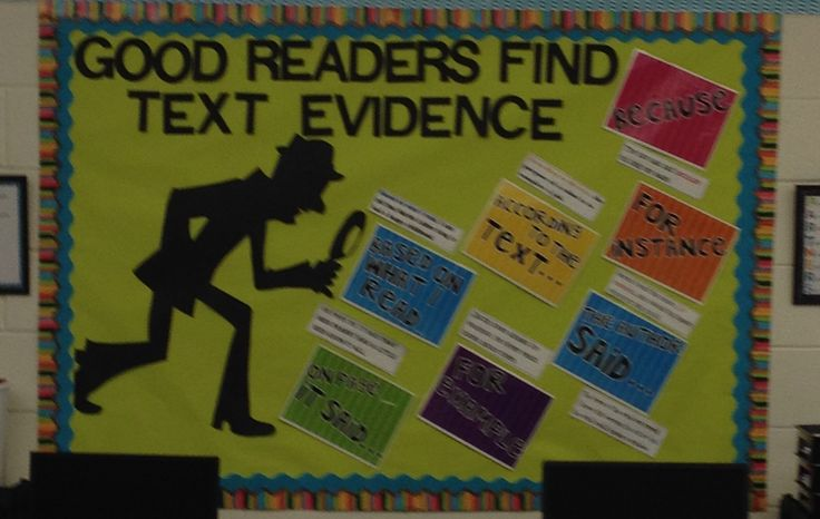 Our Text-Evidence Bulletin Board made with a Freebie from Life in First Grade