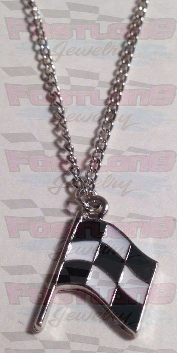RACING JEWELRY- Checkered Flag Charm Necklace