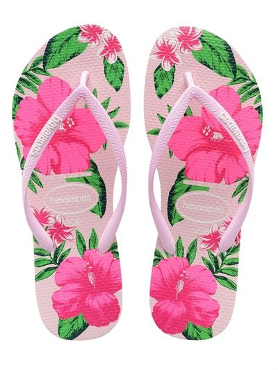 HAVAIANAS - SLIM FLORAL RUBBER FLIP FLOPS - LUISAVIAROMA - LUXURY SHOPPING WORLDWIDE SHIPPING - FLORENCE