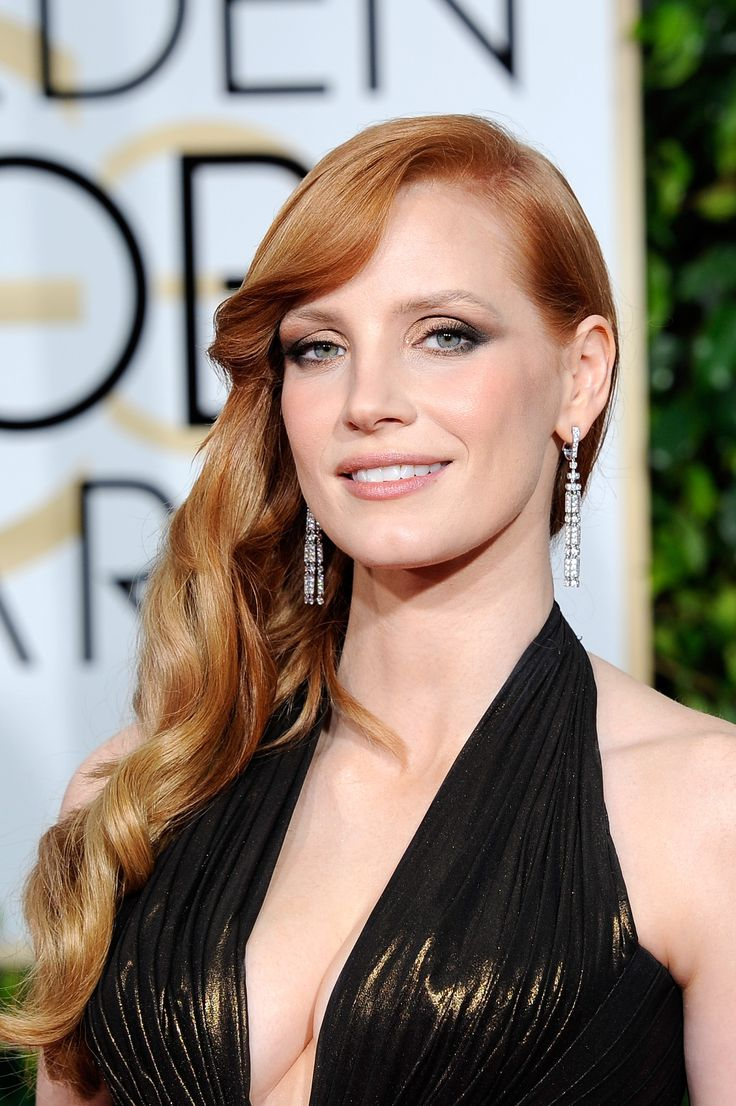 Jessica Chastain - 2015 Golden Globe Awards Red Carpet.  I think I pinned her last year too. SCHWING!