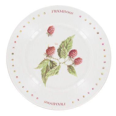 Marjolein Bastin Wildflowers gebaksborden framboos - wit - Ø 17,5 cm - 4 stuks