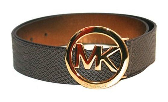 $69.99 - Michael Kors Logo Croco Wide Belt Dark Brown Medium #michaelkors