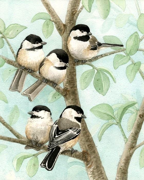 Tracy Lizotte - 'Bird Tree'  Chickadees (561x700)