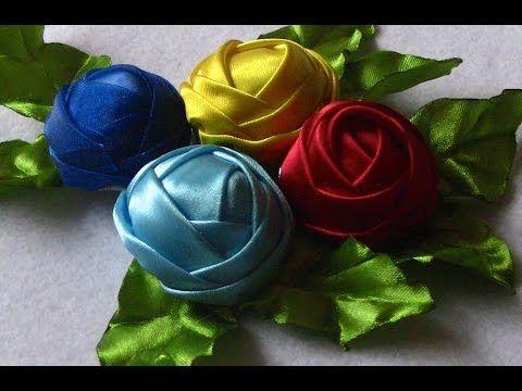 Novo modelo de rosas em Fitas de Cetim Passo a Passo -Buddhist Bunga, Ribbon Rose Tutorial, DIY - YouTube