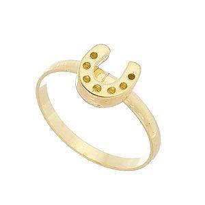 Anel de falange (ou infantil) folheado a ouro c/ adereço em forma de ferradura