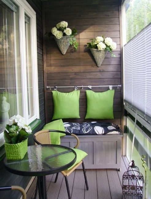 Cozy and Private #Balcony #Green #Decor. #InteriorDesign Inspiration.