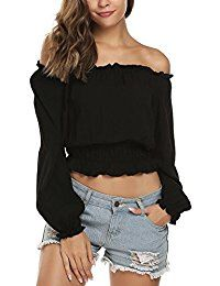 New ELESOL Women's Loose Long Sleeve Blouse Strapless Shirt Off The Shoulder Tops online. Find the perfect MOPAS Tops-Tees from top store. Sku XTLP39153XCHT43358