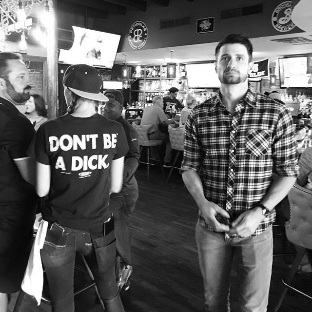 @thisisjameslafferty with a subtle reminder to get out there and vote while working out the kinks on his Election Day game face.