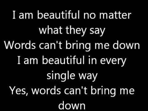 Beautiful christina aguilera lyrics - every parent should play this for their teenagers.