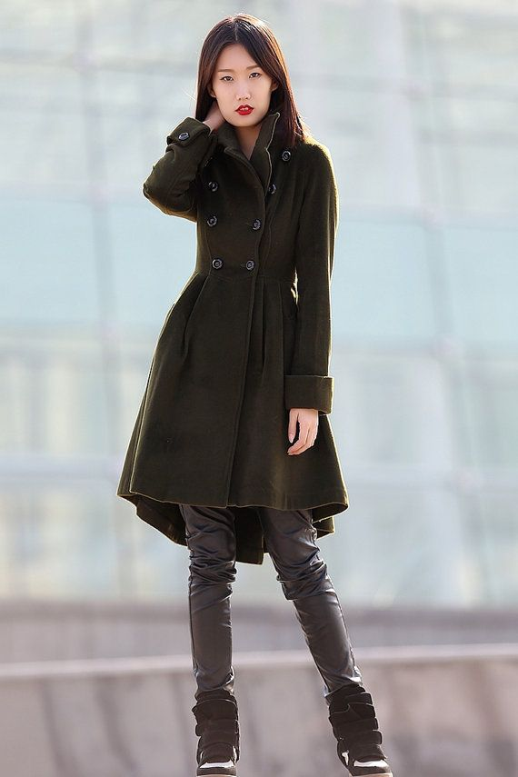 Army Green coat winter coats for women 100 cashmere by YL1dress, $229.99