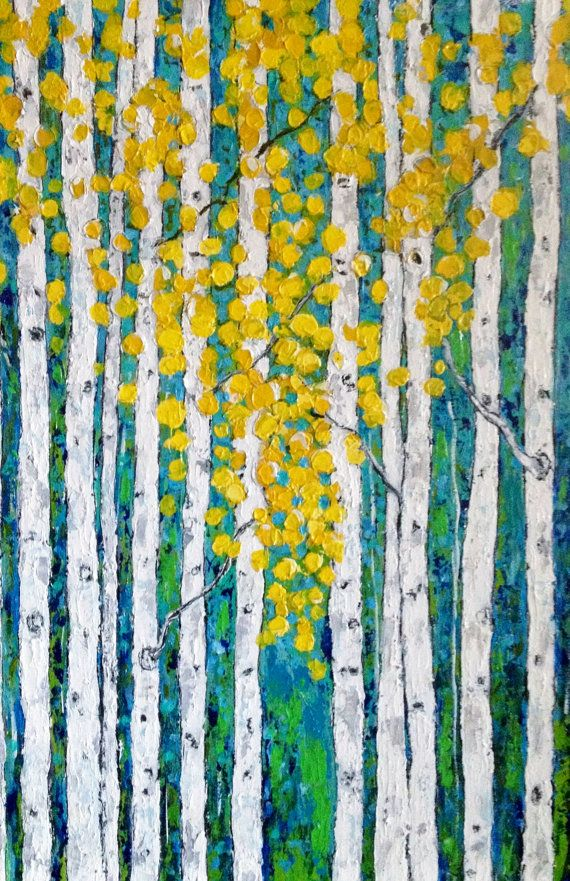 Aspen Birch Tree Original Acrylic Painting 24 x 36 x by VickisArt