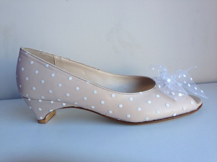 Wedding shoes- peep toe ballerinas nude leather with polka dot and bows. Amarisso New York