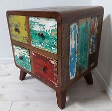 Teak Holz Kommode recyceltes Boot shabby chic bunt Nachttisch retro Vintage