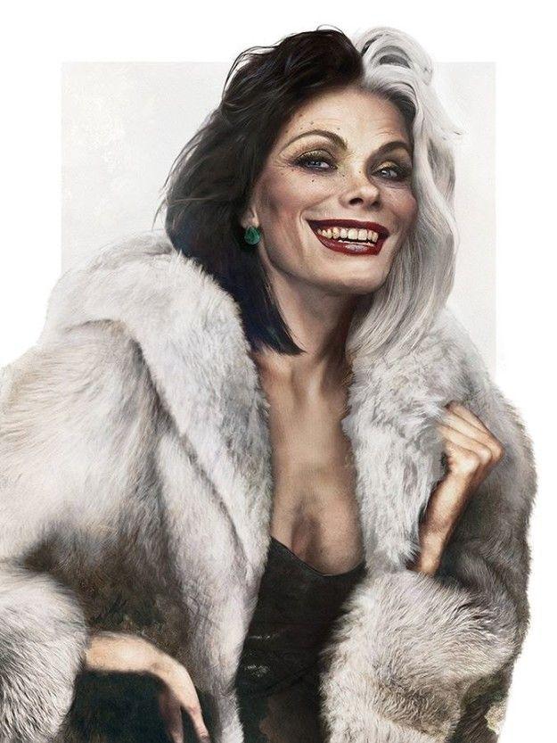 … avec un manteau en poils de dalmatiens plus vrai que nature!   Les méchants de Disney s'ils avaient forme humaine