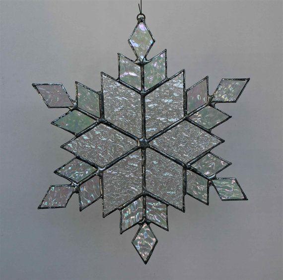 stained glass snowflake suncatcher  design 11 by bitsandglassart, $30.00