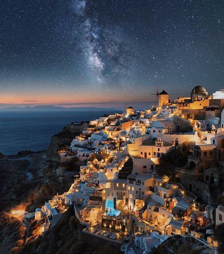 Breathtaking night perspective of Santorini.