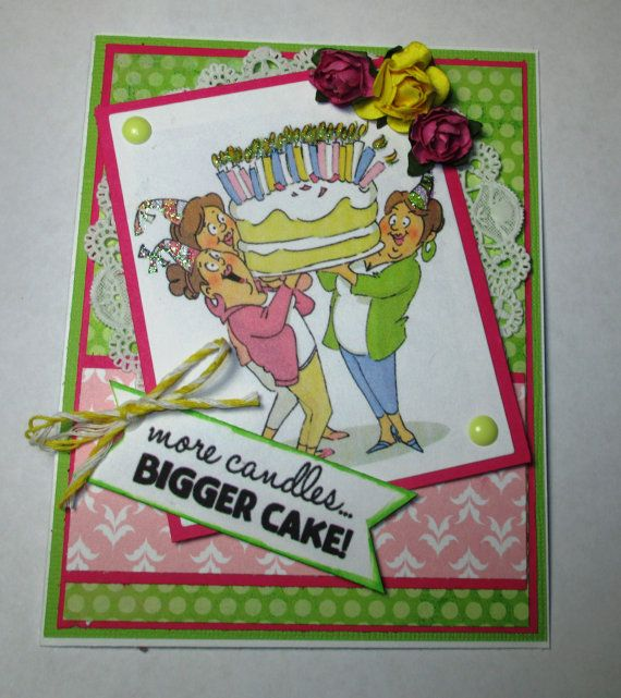 Art Impressions Ai Girlfriends Giant Cake Set (Sku#4382) Handmade birthday card.