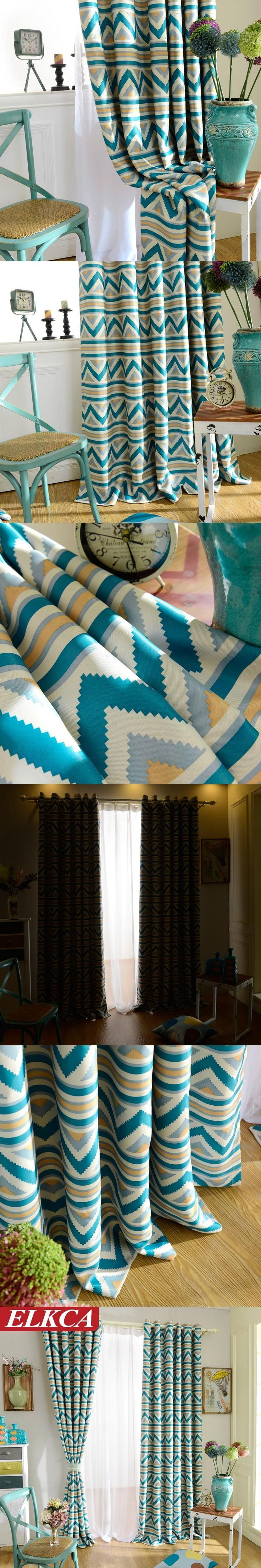 Blue Stripe Geometric Curtains for Living Room Drapes Modern kitchen Curtains Custom Made Blackout Curtains for Bedroom Blinds