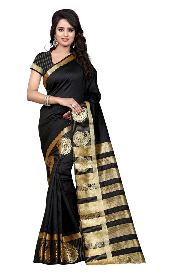 Amazing Nero (Black) Colored Jacquard Cotton Saree