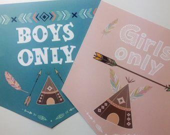Les garçons de la bannière papier cartonné de papier signe les filles signe pandant décoration tipi décoration murale pendentif porte étiquette pour les enfants